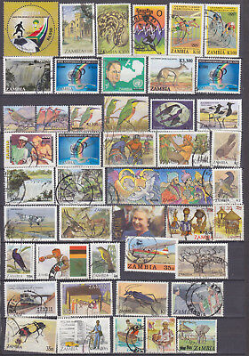 A Small Collection Of 100 Used Stamps From Zambia