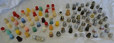 Lot Of 101 Vintage Thimbles Advertising Plastic Metal Wood Porcelain Sewing