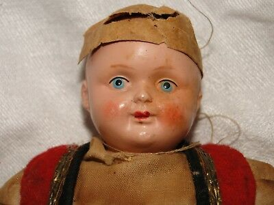 Vintage Antique Celluloid Face & Hands Doll Hand Painted Russian?