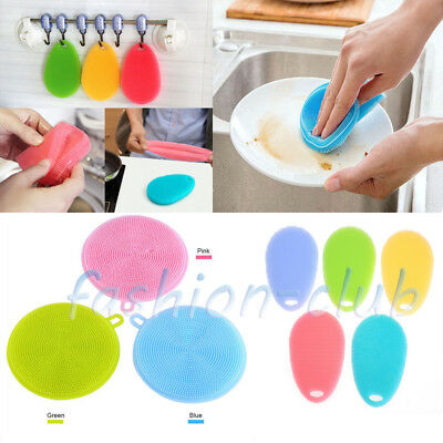 Magic Soft Silicone Scrubber Kitchen Bowl Dish Sponge Cleaner Housekeeping Tools