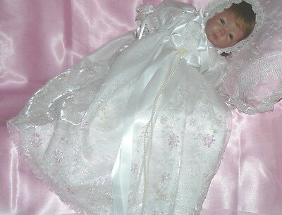 WHITE CHRISTENING GOWN Victorian Beaded tulle for Reborn or Baby size 0-3 month