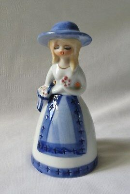 Gorgeous Vintage C1960's Young Girl Porcelain China Bell - Gold Gilt #6