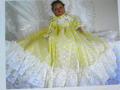 Yellow Batiste Gown Reborn Baby Capelet,bonnet Victorian  Pageant Sized 0-3