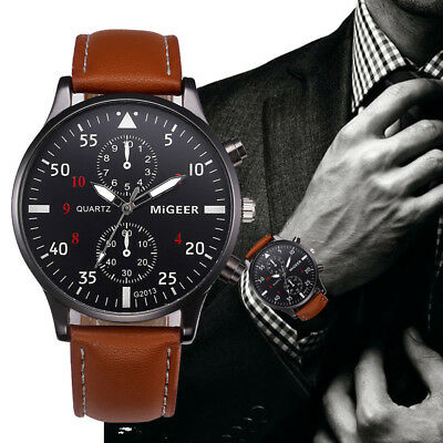 Fashion Mens Stainless Steel Analog Wrist Watch Leather Date Army Quartz Watches