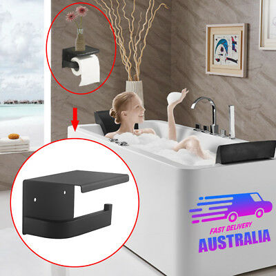 Black Toilet Paper Roll Holder Shelf Storage Cover Hook Ring Rack Hanger Wall AU