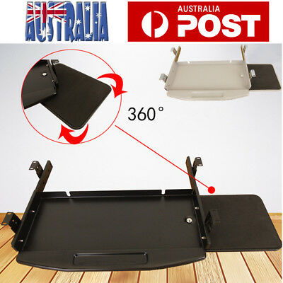 Underdesk Keyboard Drawer 360° Rotation Mouse Tray Slider Runner for Home Office