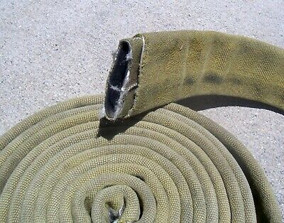 "Used Fire Hose 19 Ft Long 3"" Wide Flat For Boat Dock Bumper Yellow"