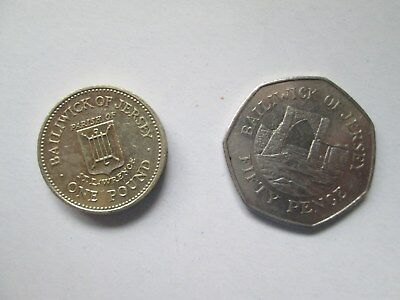One pound coin 1985/50p coin 2006. Balliwick of Jersey.
