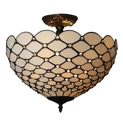 Semi Flush Mount Ceiling Light Tiffany Style Lamp White Stained Glass Entryway