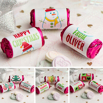 Personalised Mini Love Hearts Rolls | Christmas Party Sweets Gift Bag Favour