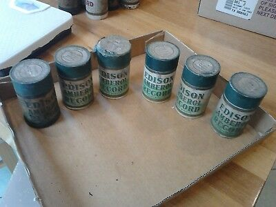 6 Antique Edison Phonograph Record Cylinders