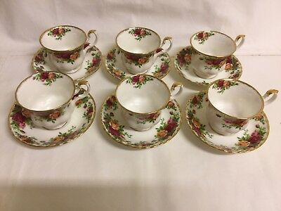 6 Teacups And Saucers Royal Albert Old Country Roses