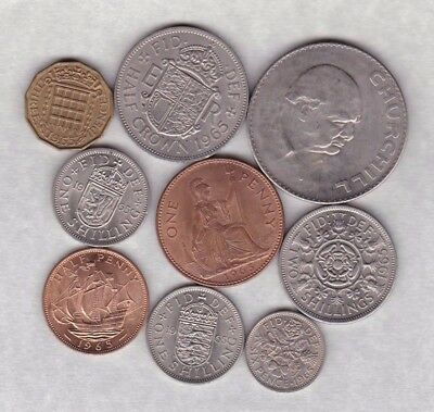 1965 Elizabeth Ii Set Of 9 Coins In Good Very Fine Or Better Condition