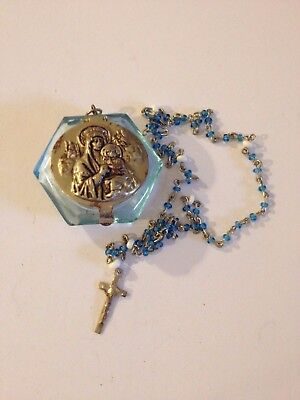 Circa 1940-1950 Vintage TINY rosary beads & case Holy Religious Catholic #2