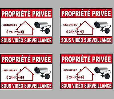 stickers x4 ALARME SOUS SURVEILLANCE PROPRIETE SECURITE 8,5cmX6cm AUTOCOLLANT