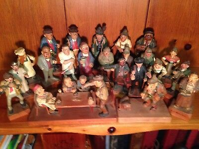 Amazing Vintage Hand-Carved German Wood Art Collection 22 Pc, 25 Figures