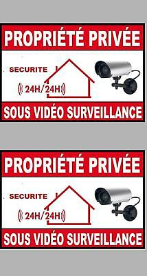 ALARME SOUS SURVEILLANCE X2 PROPRIETE SECURITE 8,5cmX6cm AUTOCOLLANT STICKER