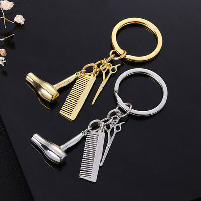 Creative Hair Dryer Scissors Comb Pendant Keychain Keyring Hairdresser Pendant