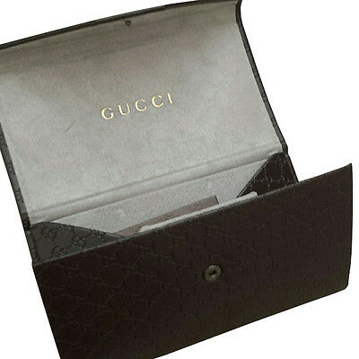 New GUCCI Gold / Brown Sunglasses Eyeglasses 100% Authentic Women Wallet Case