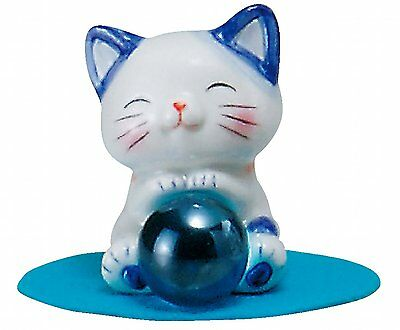 Better fortune Cat Feng shui Happy Cat Angel Blue Pottery Health luck Cat M39