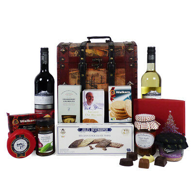 Silent Night Wine & Nibbles Gourmet Food Chest Hamper – Christmas Gift ideas