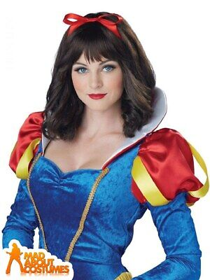 Adult Princess Snow White Wig Brown with Ribbon Fairy Tale Book Week Fancy Dress