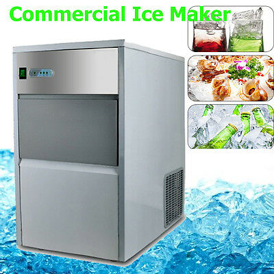 55lb/25kg Auto Commercial Ice Maker Cube Machine Stainless Steel Bar 240W 110V