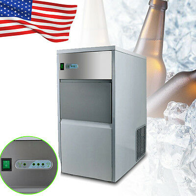 55lb/25kg Auto Commercial Ice Maker Cube Machine Stainless Steel Bar  Air Cooled