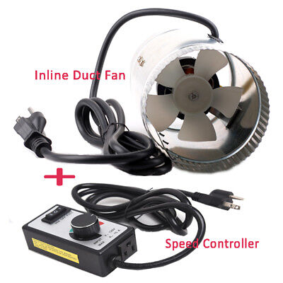 "4"" Inline Duct Booster Exhaust Blower Low Noise Cooling Fan + Speed Controller"
