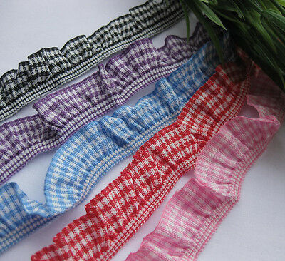 "10Y 3/4"" (20mm) Gingham Elastic Trim Ruffle Ribbons Trimming Lots R764-1"