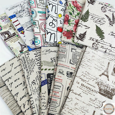 Letters Floral Printed Vintage Cotton Linen Fabric Upholstery Material Decor 2M
