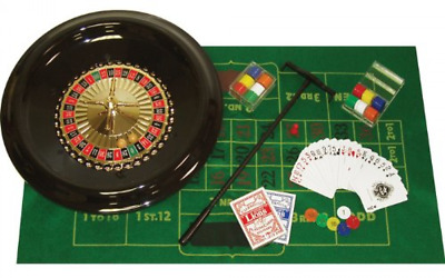 "16"" Roulette Wheel Blackjack Set. Casino Vegas Felt Balls Chips Cards Rake Game"
