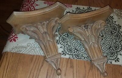FINE Antique Pair Of Carved Wood VICTORIAN ACANTHUS LEAF ARCHITECURAL CORBELS!