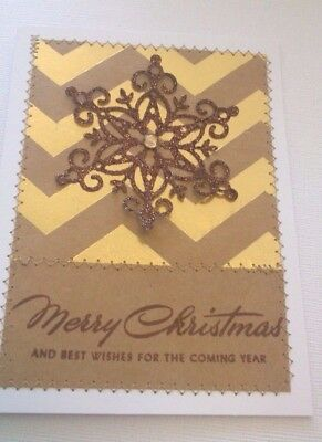 Handmade Christmas Card:Gold Chevron