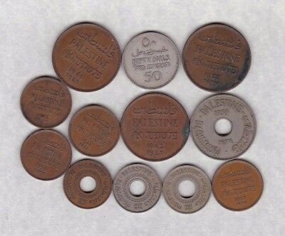 12 Various Coins From Palestine 1927 To 1942