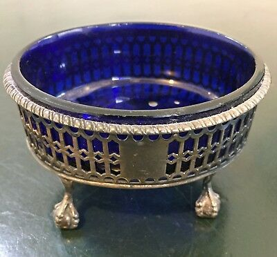 Silver Hallmarked Salt With Blue Glass Liner - London 1827