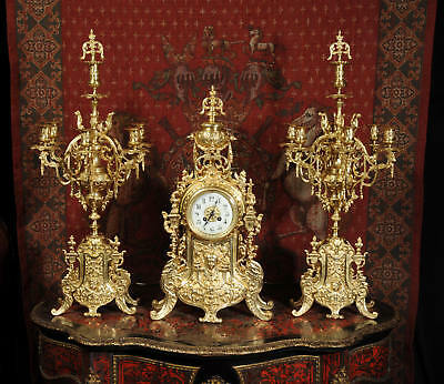 Huge Antique French Gilt Bronze Clock Set by Japy Freres C1880