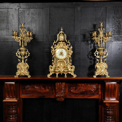 Large Antique French Gothic Clock Set By A. D. Mougin C1900 Fully Working