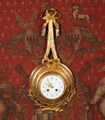 Antique French Louis XVI Ormolu Cartel Wall Clock C1880 Fully Working