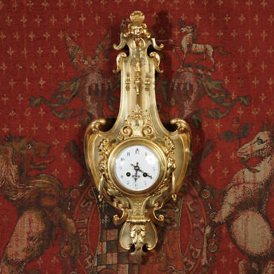 Japy Freres Ormolu Gilded Bronze Cartel Wall Clock ~ Visible Pendulum