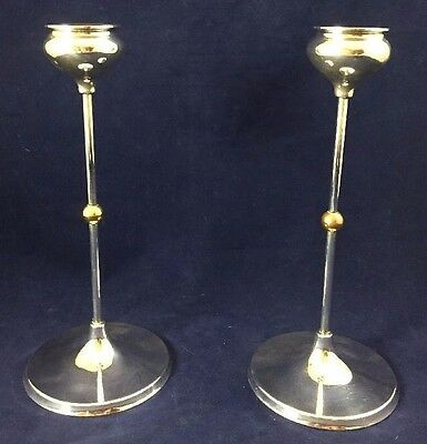 "Pair of Towle Silver Plate 9.25"" Candle Stick Holders #4144 Set MCM Vtg Germany"