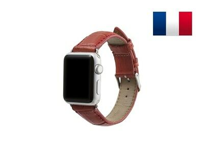 Bracelet en cuir synthétique type Croco pour Apple Watch 38mm - Rouge