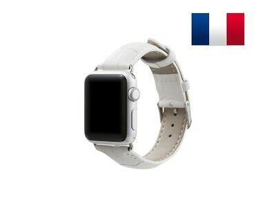 Bracelet en cuir synthétique type Croco pour Apple Watch 38mm - Blanc