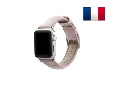 Bracelet en cuir synthétique type Croco pour Apple Watch 42mm - Rose