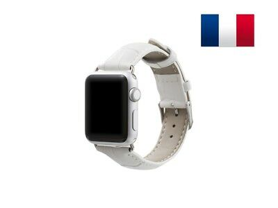 Bracelet en cuir synthétique type Croco pour Apple Watch 42mm - Blanc
