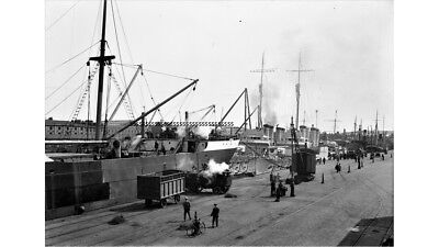Photographic Glass Negative Navy Navy Warship At Dock Firth Of Forth  Ww1