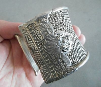 Heavy Old Coin Silver Cuff Bracelet Laos SE Asia