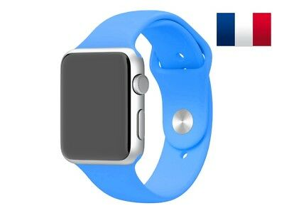 Bracelet sport silicone bleu pour Apple Watch version 38mm
