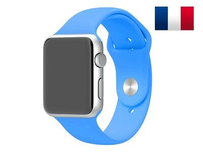Bracelet sport silicone bleu pour Apple Watch version 42mm