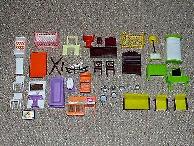 Vintage Lot of 34 Plastic Doll House Furniture Pieces Mixed Brands